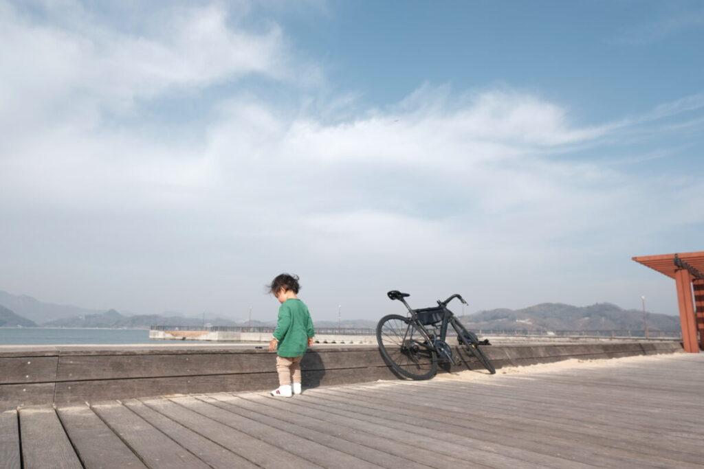 息子と自転車